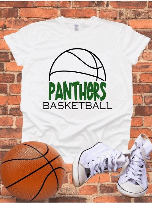 """Half Basketball with mascot name"" Short-Sleeved Tee"