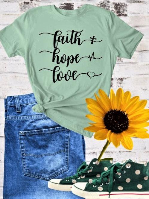 """"""" Faith-Hope-Love"""" Short-Sleeved Tee"""