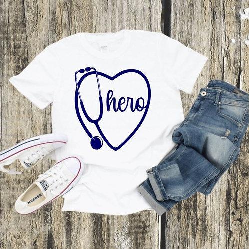 """Stethoscope heart with hero"" Short-Sleeved Tee"