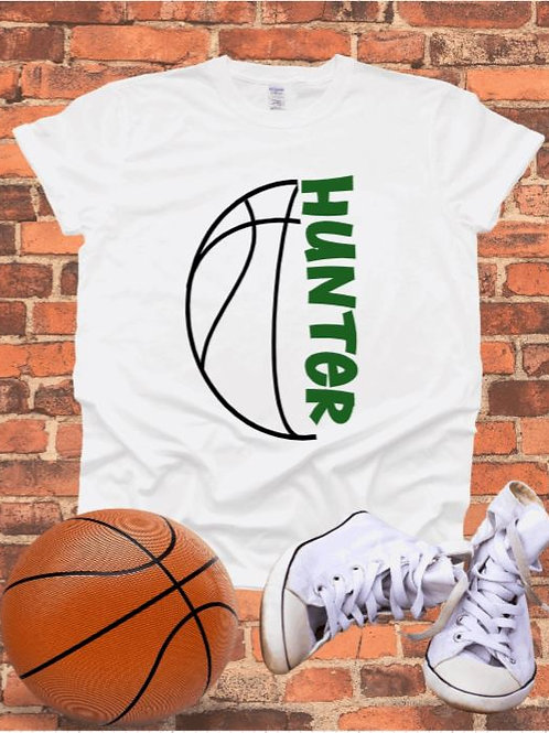"""""""Sideways Basketball with players name"""" Short-Sleeved Tee"""