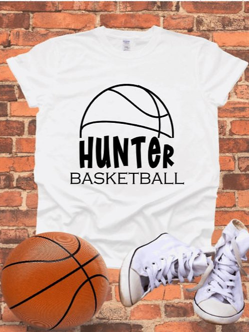 """Half Basketball with players name"" Short-Sleeved Tee"
