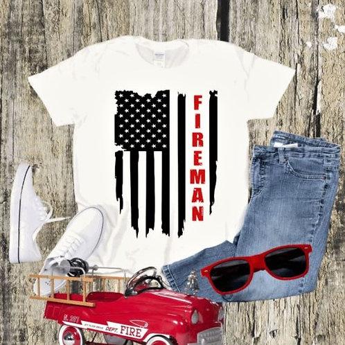 """Fireman Flag "" Short-Sleeved Tee"
