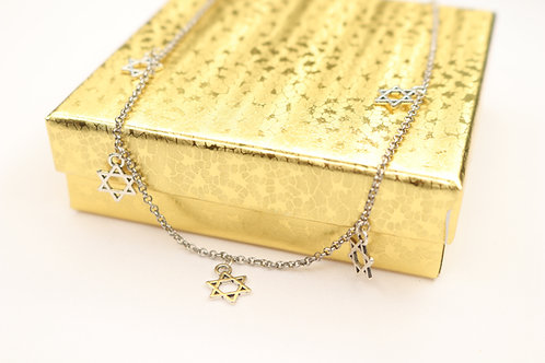 Multi Jewish Star Charms Necklace