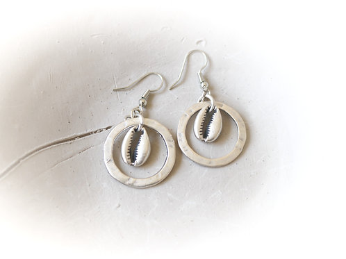 Cowrie Shell Circled Earrings