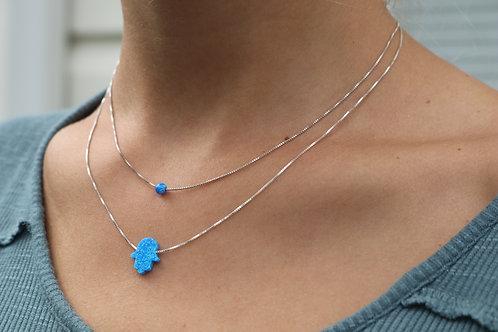Opal Hamsa Ball Bead Necklace