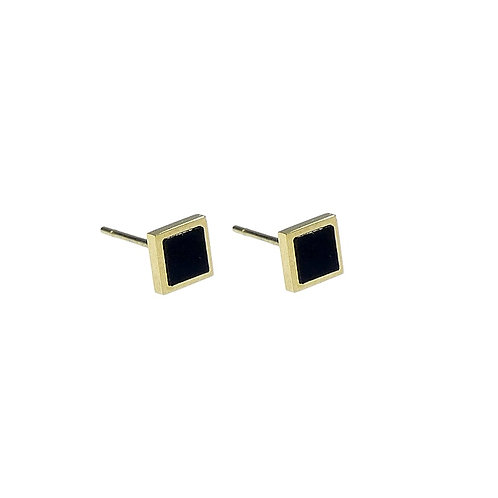 Onyx Square Earring