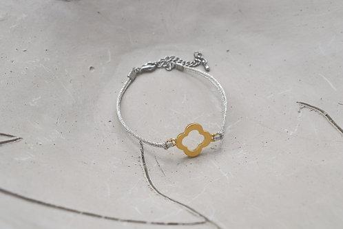 Gold Plated Flower Cord Bracelet