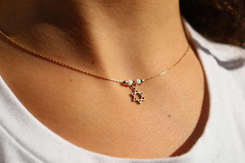 Gold-Filled Jewish Star with Opal Beads