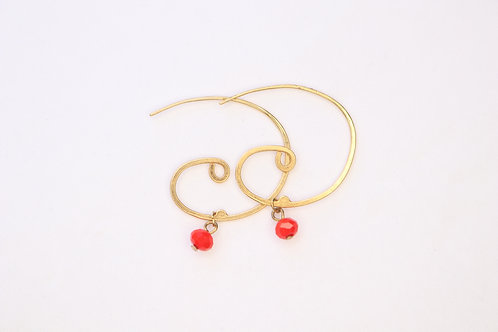 Spiral Red Earrings