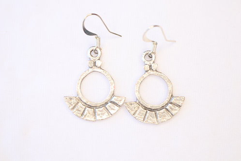 Fan Shape Antique Silver Earrings