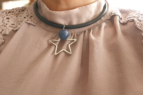 Navy Blue Silver Star Necklace