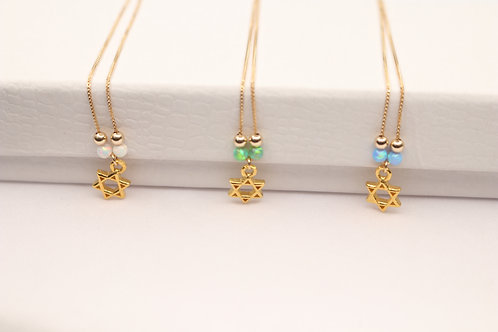 Gold-Filled Jewish Star with Opal Beads Necklace