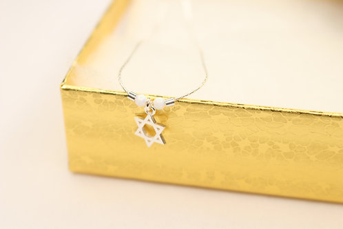 Jewish Star with Opal Beads Sterling Silver Necklace