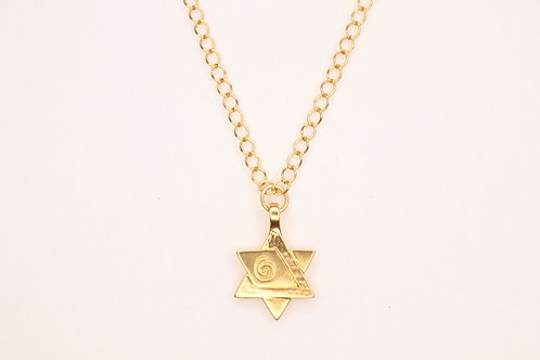 Jewish Star 24K Gold Plated Necklace