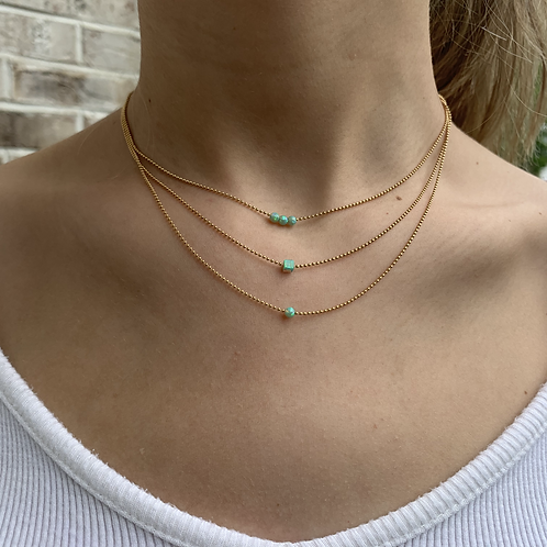 Three Layer Green Opal Gold Filled Necklace