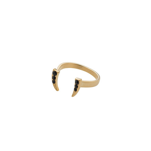 Gold open crescent ring