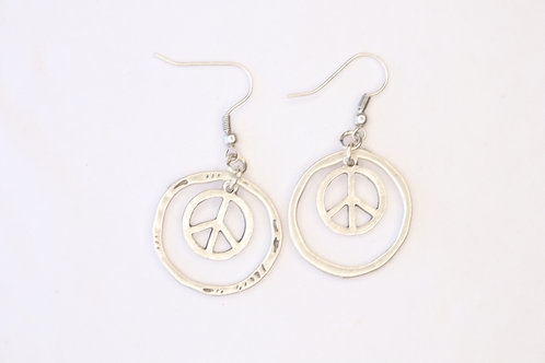 Peace sign Circled Earrings