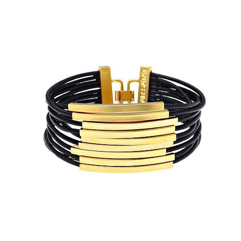 Gold Rectangular Tube Bracelet
