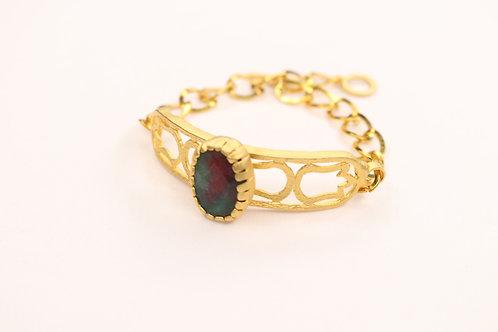 Green-Burgundy Jade Curved Bracelet