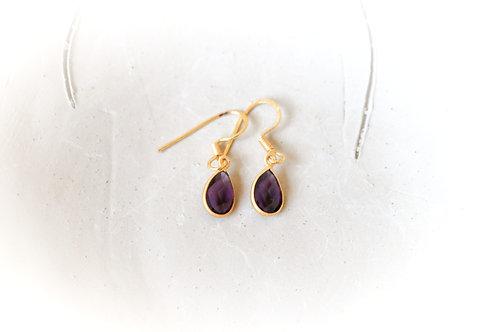 Purple Crystal Drop Earrings