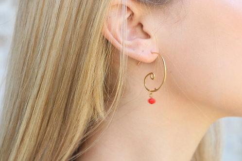 Spiral Red Earrings