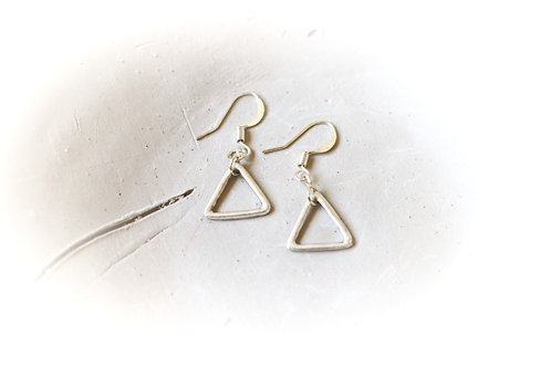 Small Triangle/Peace Sign/Moon Charms Earrings