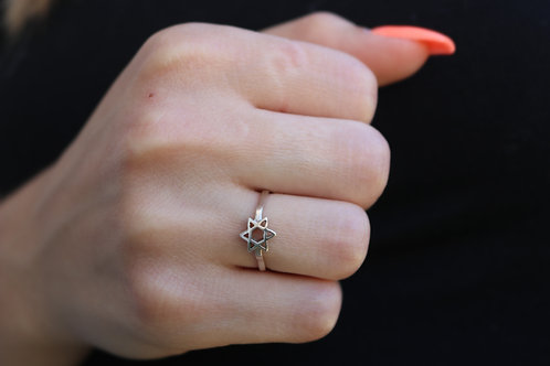Jewish Star Adjustable Ring