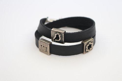 Jewish Symbol Charms Wrap Bracelet