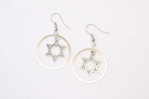 Jewish Star Circled Earrings