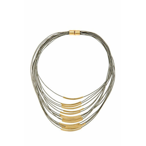 Gold Multi Cord Leather Necklace