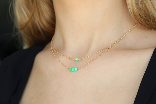 Opal Square Bead Necklace