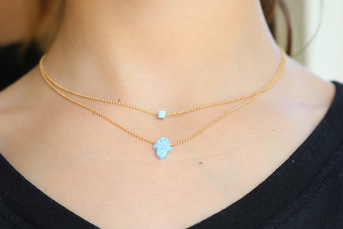 Hamsa Cube Necklace