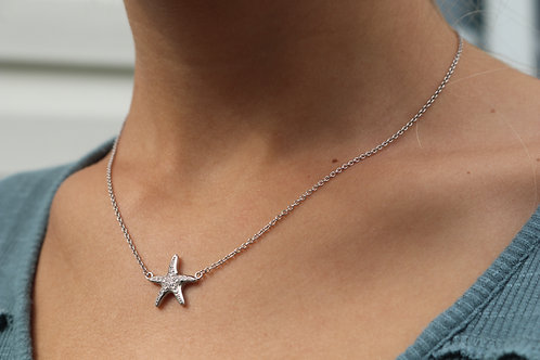 Sterling Silver Starfish with Cz