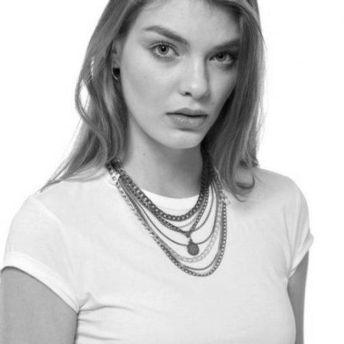 Silver Multi Chain Charm Necklace