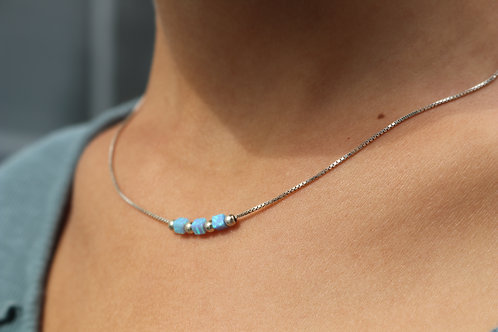 Three Opal Square Necklace