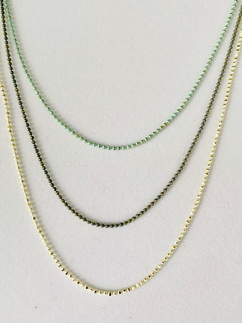 Triple Gold Shimmer Chain Necklace