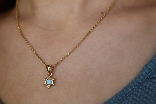 Opal/GF Jewish Star Necklace