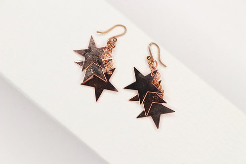 Triple Rose Gold Star Earrings