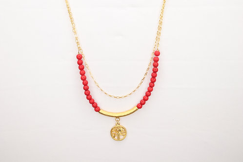 Tree Of Life Red Gemstone Necklace