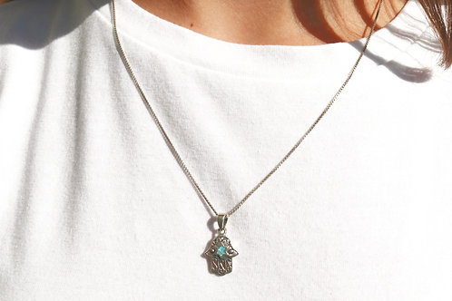 Sterling Silver Hamsa with an Opal Jewish Star Necklace