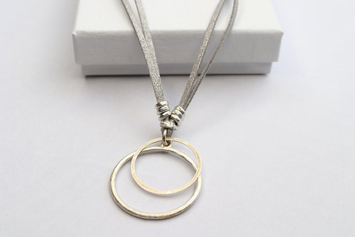 Large Double Circle suede Necklace