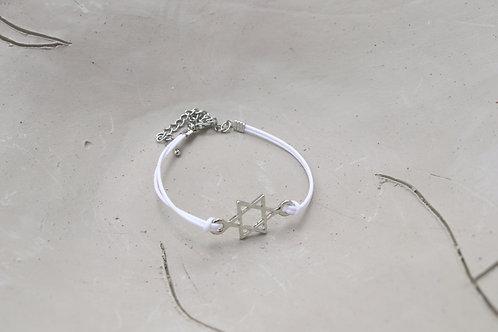 Silver Plated Jewish Star Cord Bracelet