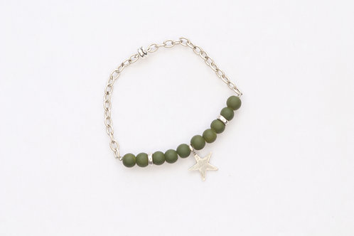 Army Green Matte Glass Beads Bracelet