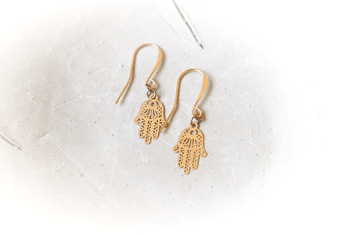 Dainty Gold-Filled Hamsa Earrings