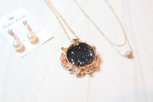 Sparkling Blue Swarovski Rose Gold Necklace