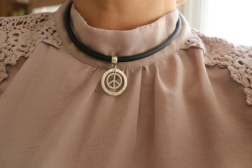 Circled Peace Sign Necklace