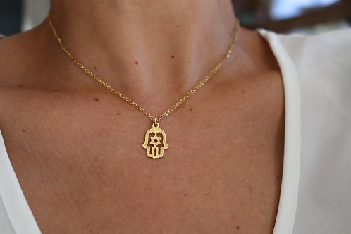 Hamsa Jewish Star Gold-Filled Necklace