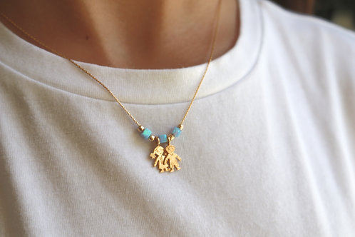 Boy Girl Gold-Field Necklace with Opal Beads