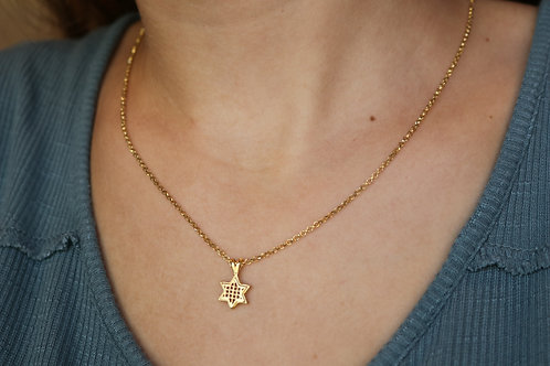 Gold-Filled Magen David Hollow Necklace