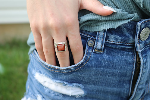 Square Gemstone Ring